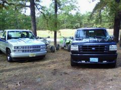 """Old 88 shortbed th400, 9"""", 383 stroker and buddies Lightning which was slow ;)"""