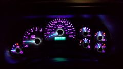 Gauge cluster done by GM gauge guys with purple LEDs and blue needles