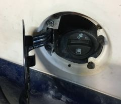 installed Dodge gas door assembly